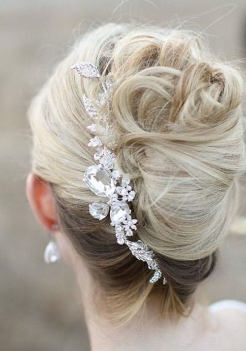 blonde hair accessory silver white pearls