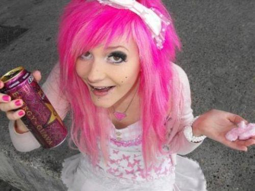 Hot Pink Emo Hair