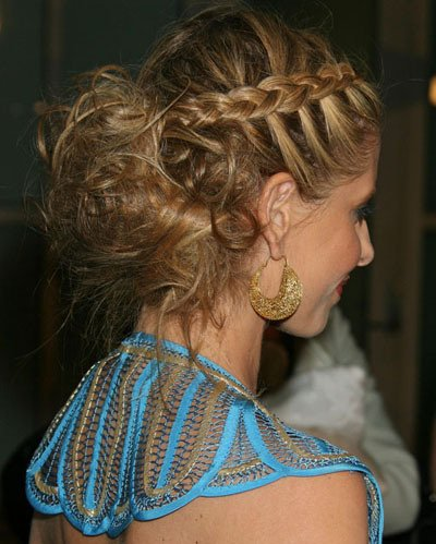 Middle Spiked French Braided Look