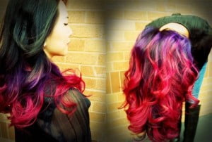 Purple and Red Omber Hair