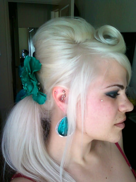 Teased Crown with Side Ponytail