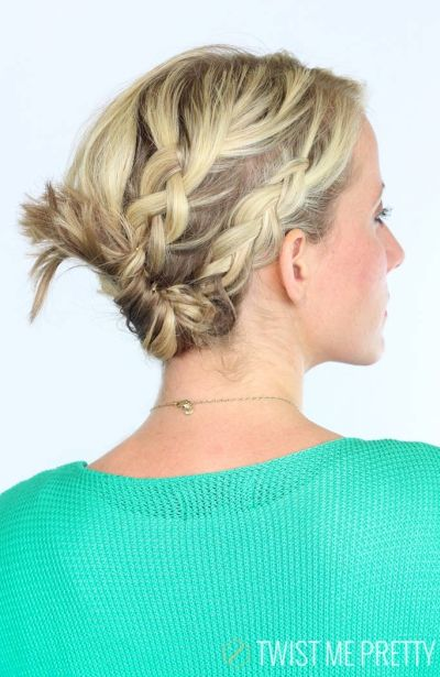Braided and twisted up do hairstyle for short hair