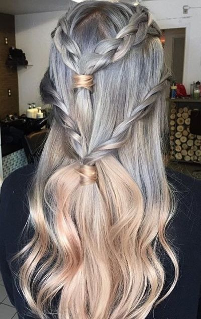 Four braided tuxedo braid
