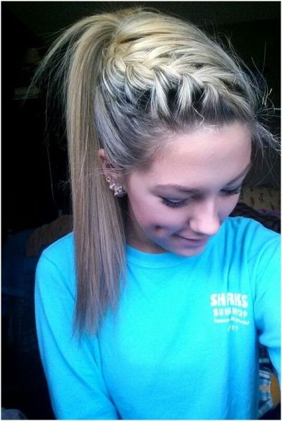 French braid with high ponytail
