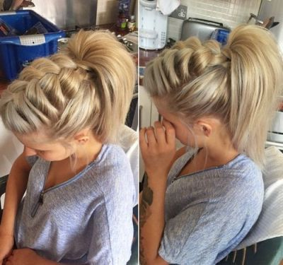 French braid hairstyle with high ponytail