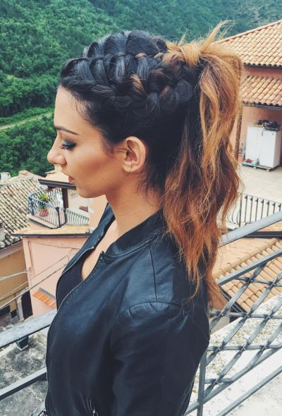 Cute french braid hairstyle with high ponytail
