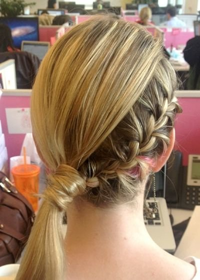 French braid with side ponytail