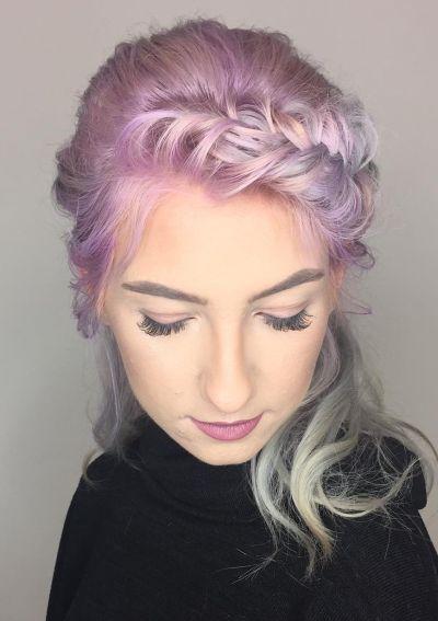 French fishtailed fringe hairstyle