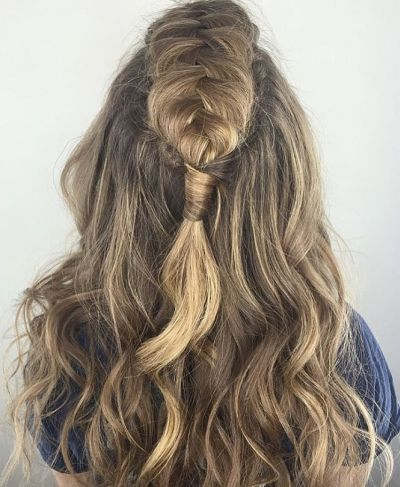 French fishtail fauxhawk half-up hairstyle