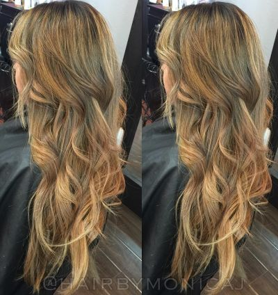 Honey blonde layered hair