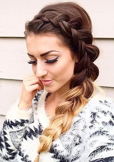 Inverted french side braid