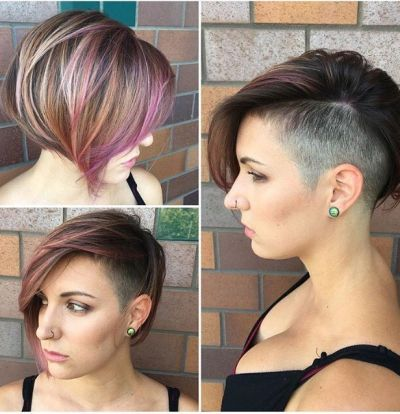 layered a-line undercut bob