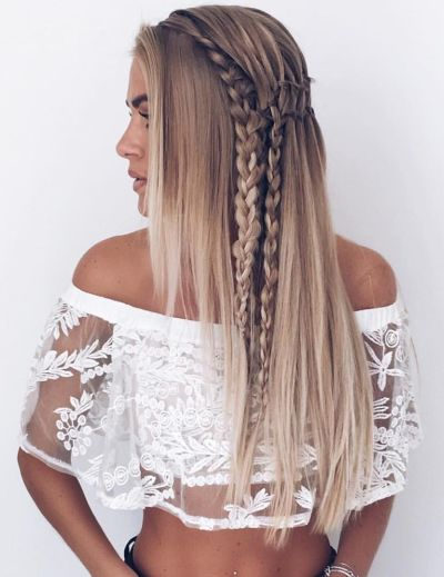 layered hair with side braids