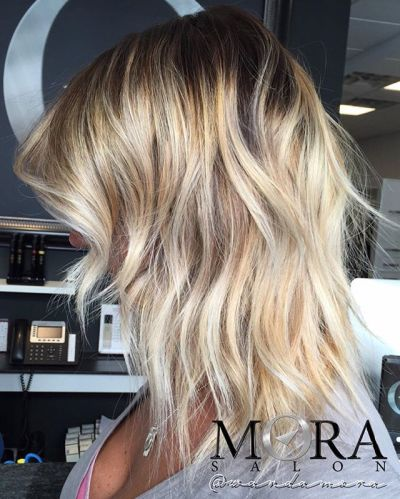 layered lob with a dimensional balayage