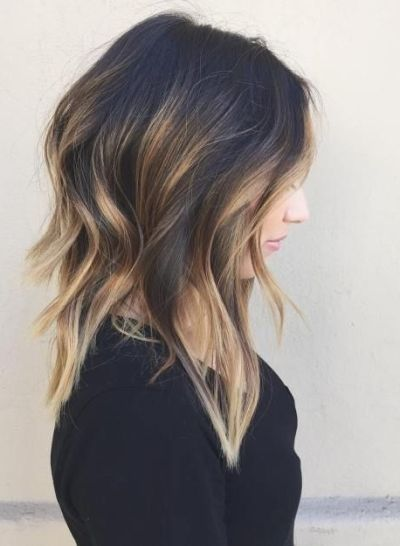 layered haircut with caramel balayage
