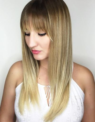 Long hair with full balayage bangs