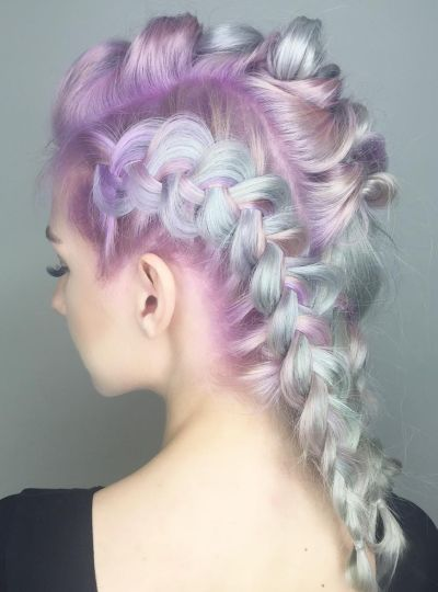 Pastel unicorn braids
