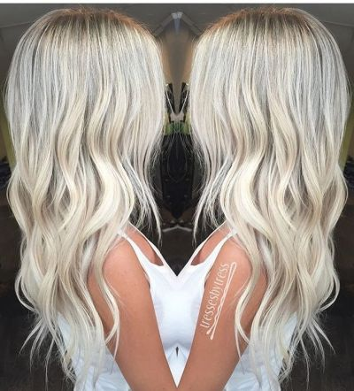 platinum baby blonde layered hairstyle