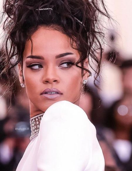 Rihanna's Messy Updo Hairstyle