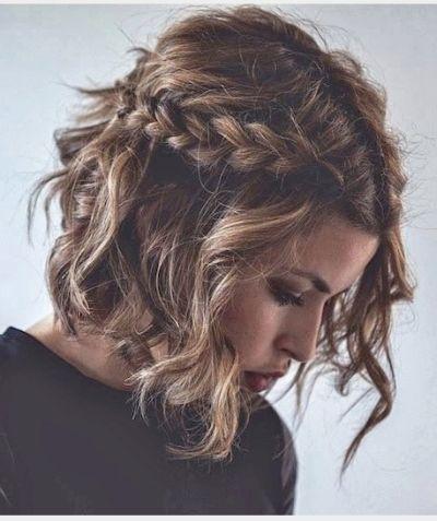 Romantic half up do wavy braided bob hairstyle