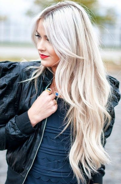 side swept blonde long layered hair