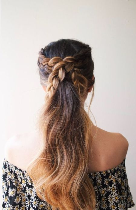 Simple braided pony for wedding