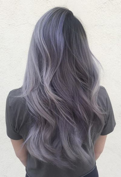 smokey lavender and silver layered hair
