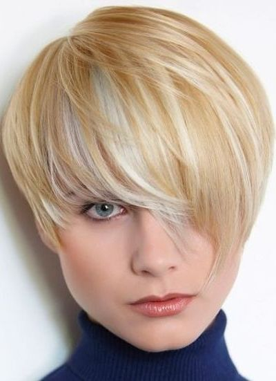 Straight Short Haircut with Long Bangs