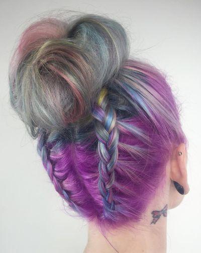 Topknot double braid rainbow