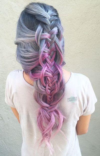 Twisted edge fishtail braids