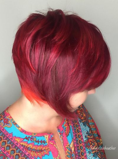 vibrant red layered bob
