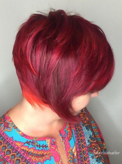 vibrant red layered bob