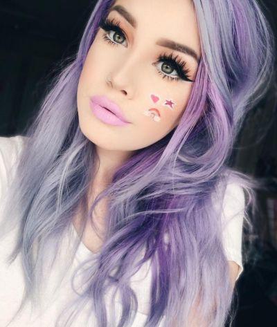 violet layered hair