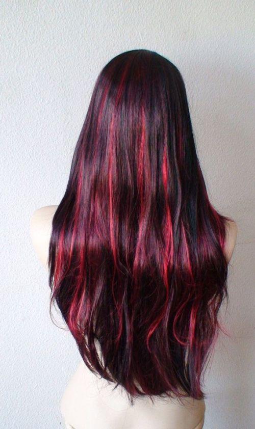 black into burgundy highlights