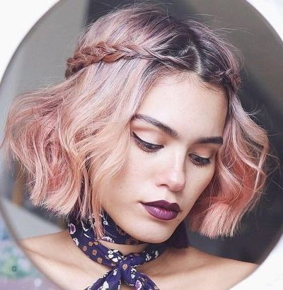 blunt bob with side braid for fine thin hair