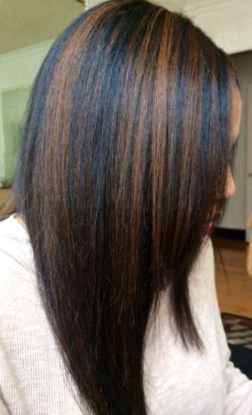 caramel on jet black hair