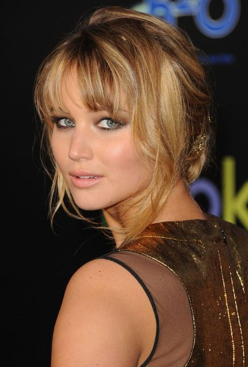 casual bangs updo