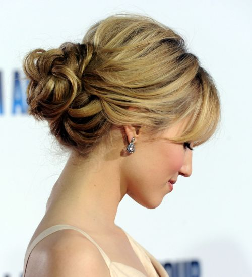 chignon with bangs