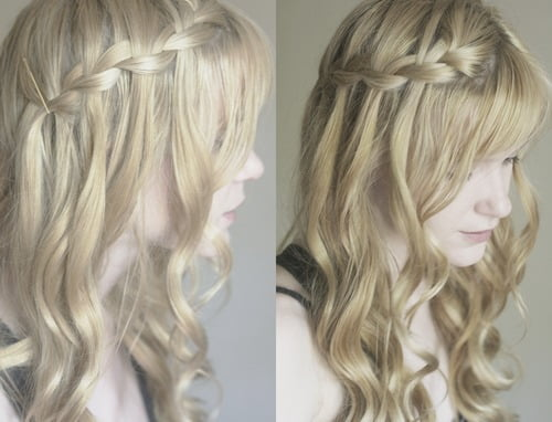 curly waterfall braid1
