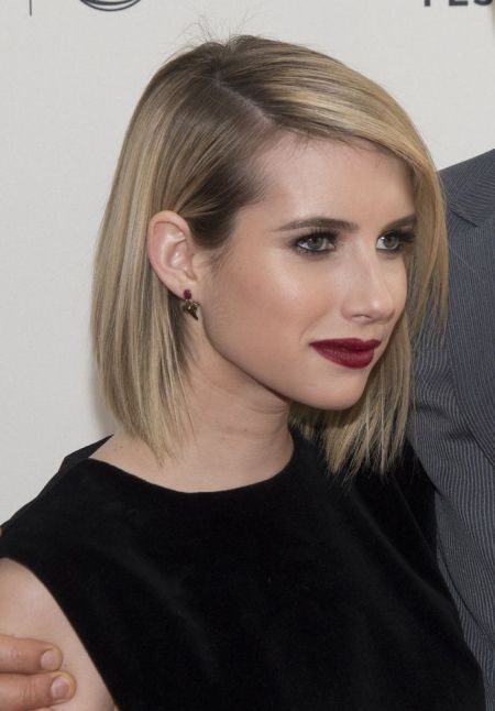 emma roberts long a line bob hair