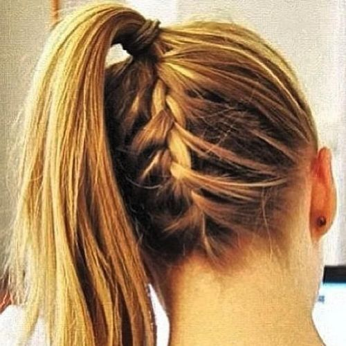 french braid below pony