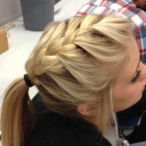 french braid top of pony