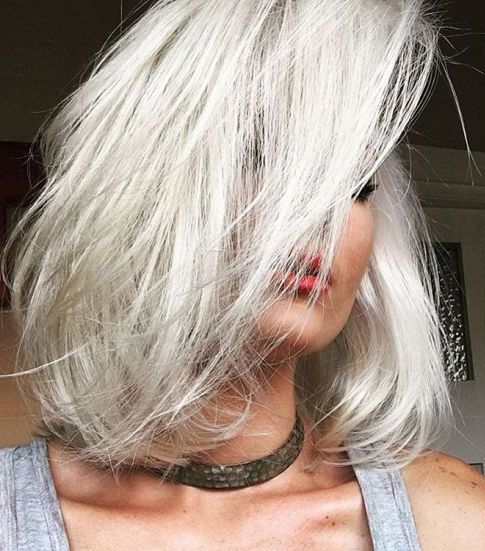 Icy blonde bob haircut