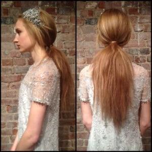 low ponytail teased