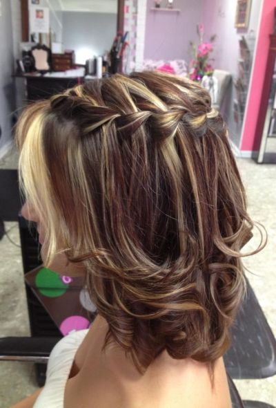 medium layered curls with waterfall braids