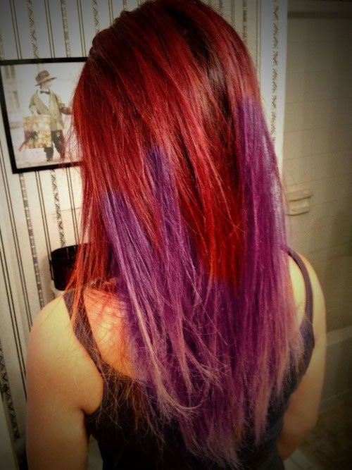 purple and red ombre hair