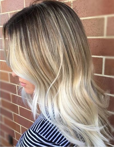 rooty blonde highlights and layered hair