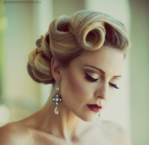 51 easy updos for short hair to do yourself vintage style updo pmusecretfo Image collections
