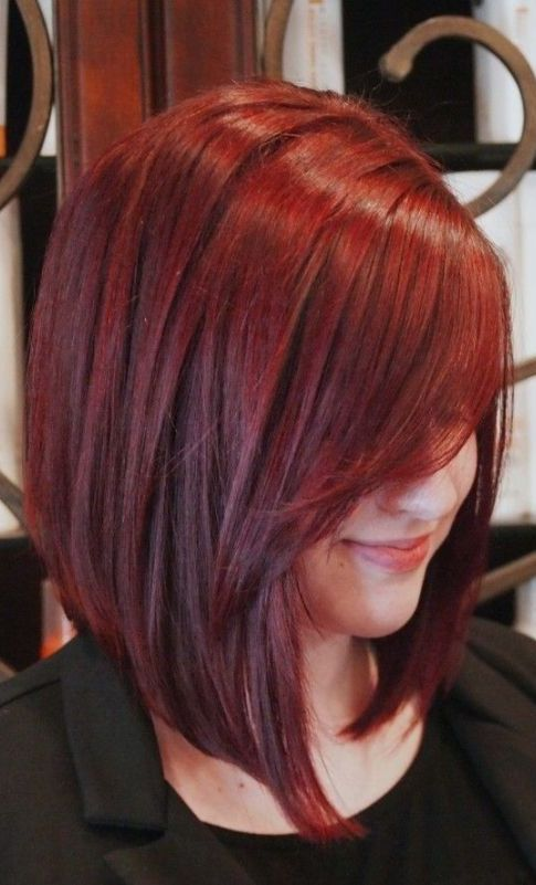 Soft and sleek red bob