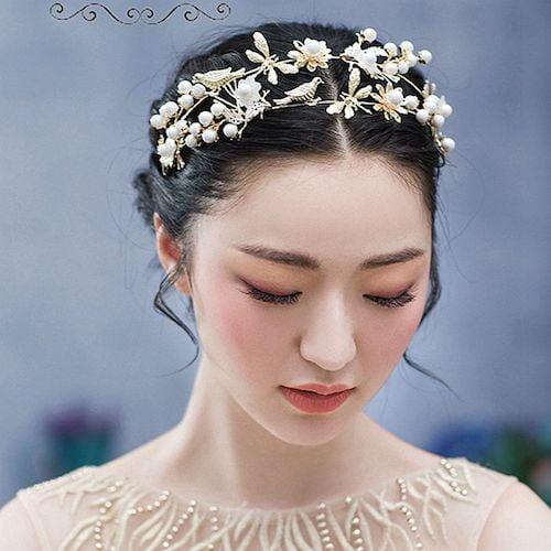 wedding tiara center part